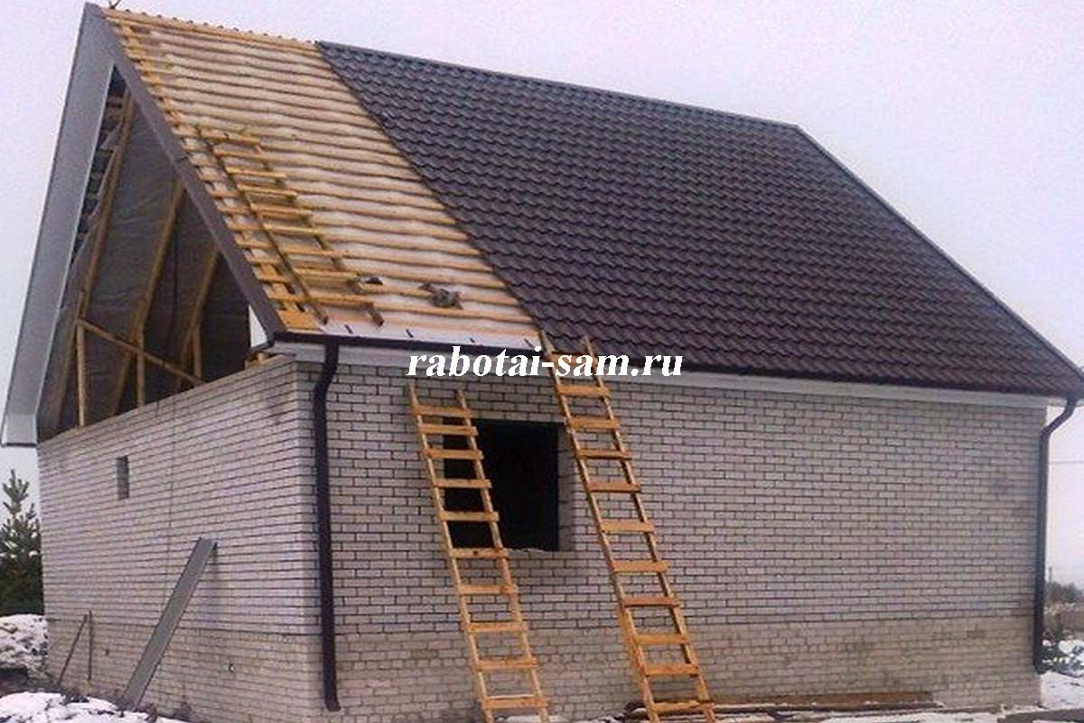 Как правильно сделать крышу из металлочерепицы фото 78