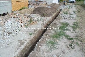 Выкапывается траншея фундамента глубиной 70 см и шириной около 30 см
