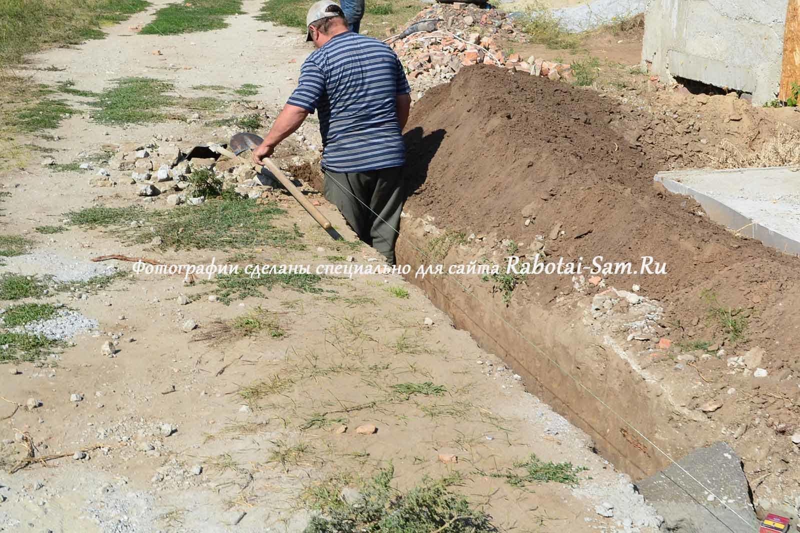 Для строительства надежного ленточного фундамента необходимо вырыть траншею глубиной 50 - 70 см