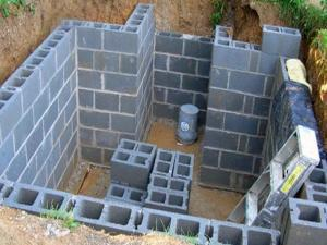 Кирпичные стены будущего погреба на даче