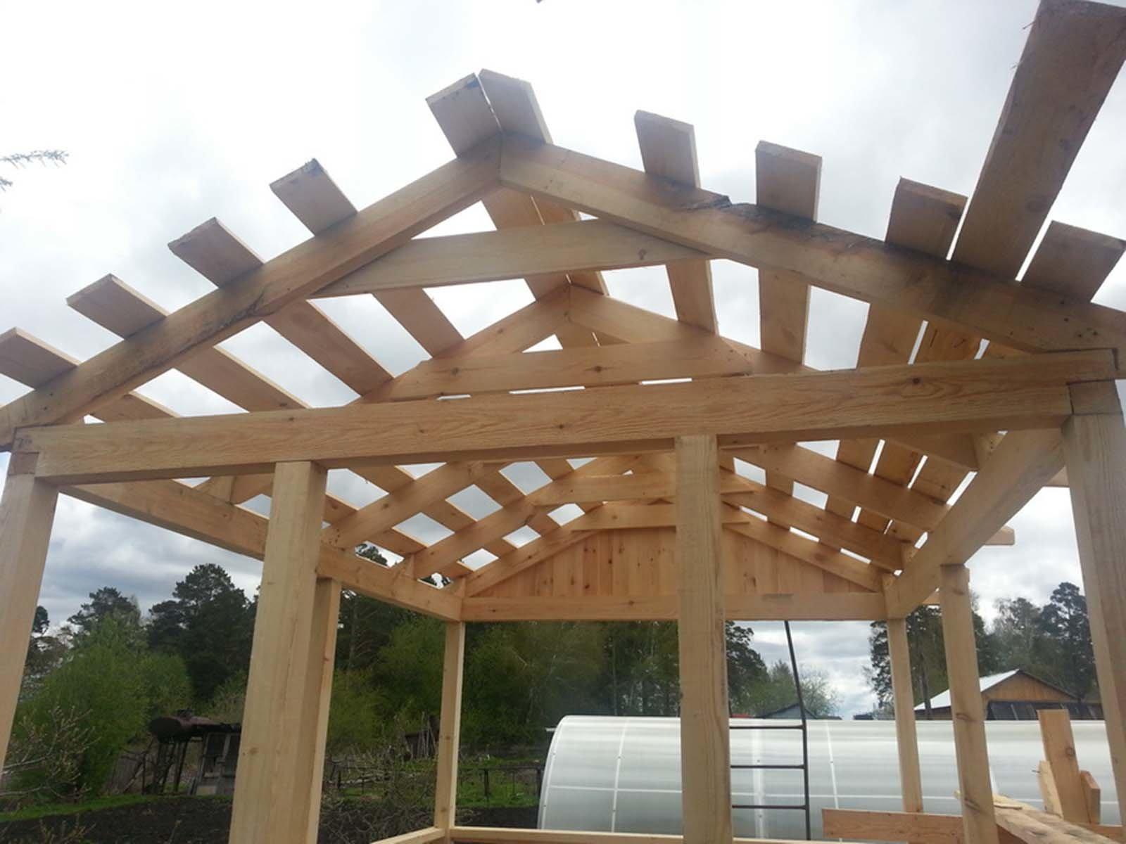 Изготовление простой двускатной крыши для беседки