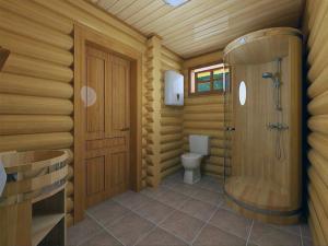 Душевая кабинка в углу деревянного дома