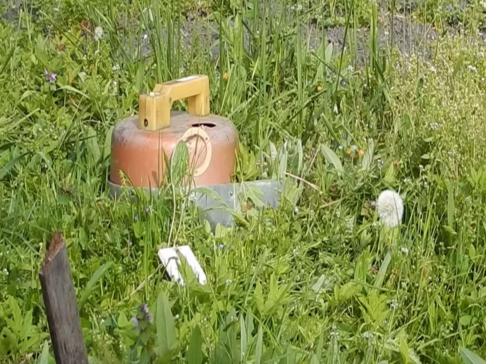 Так выглядит готовая газонокосилка из старого пылесоса