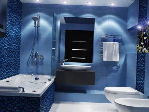 Синий цвет в ванной комнате 2019 года