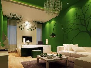 Интерьер 2019 года: оформление комнаты в зеленых оттенках