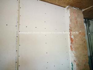 Так выглядит закрепленный гипсокартон к стене