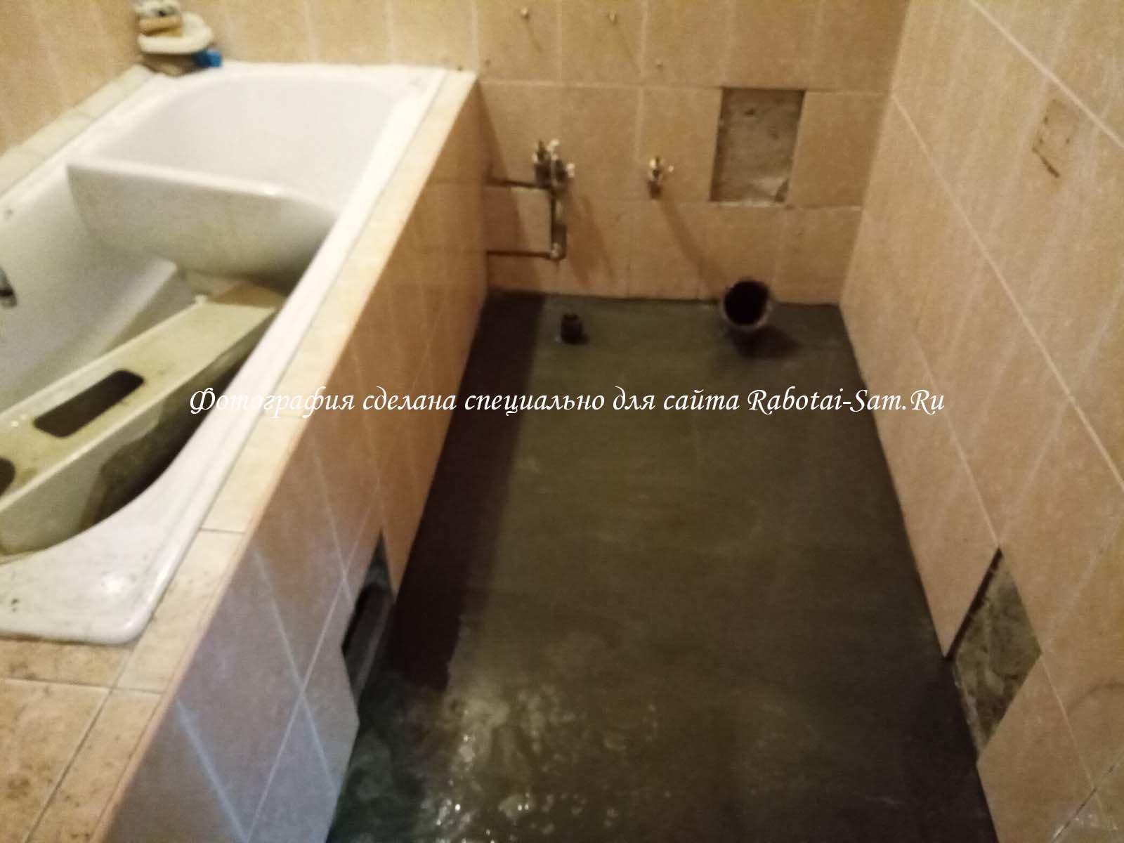 Изготовление простой стяжки пола в ванной