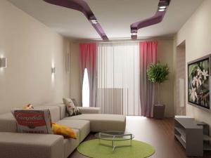 Красивый дизайн спальни и гостиной в хрущевке в бежевых тонах
