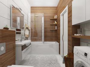 Правильное сочетание дерева и мрамора в ванной комнате