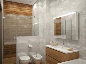 Идеальное сочетание дерева и мрамора в ванной комнате