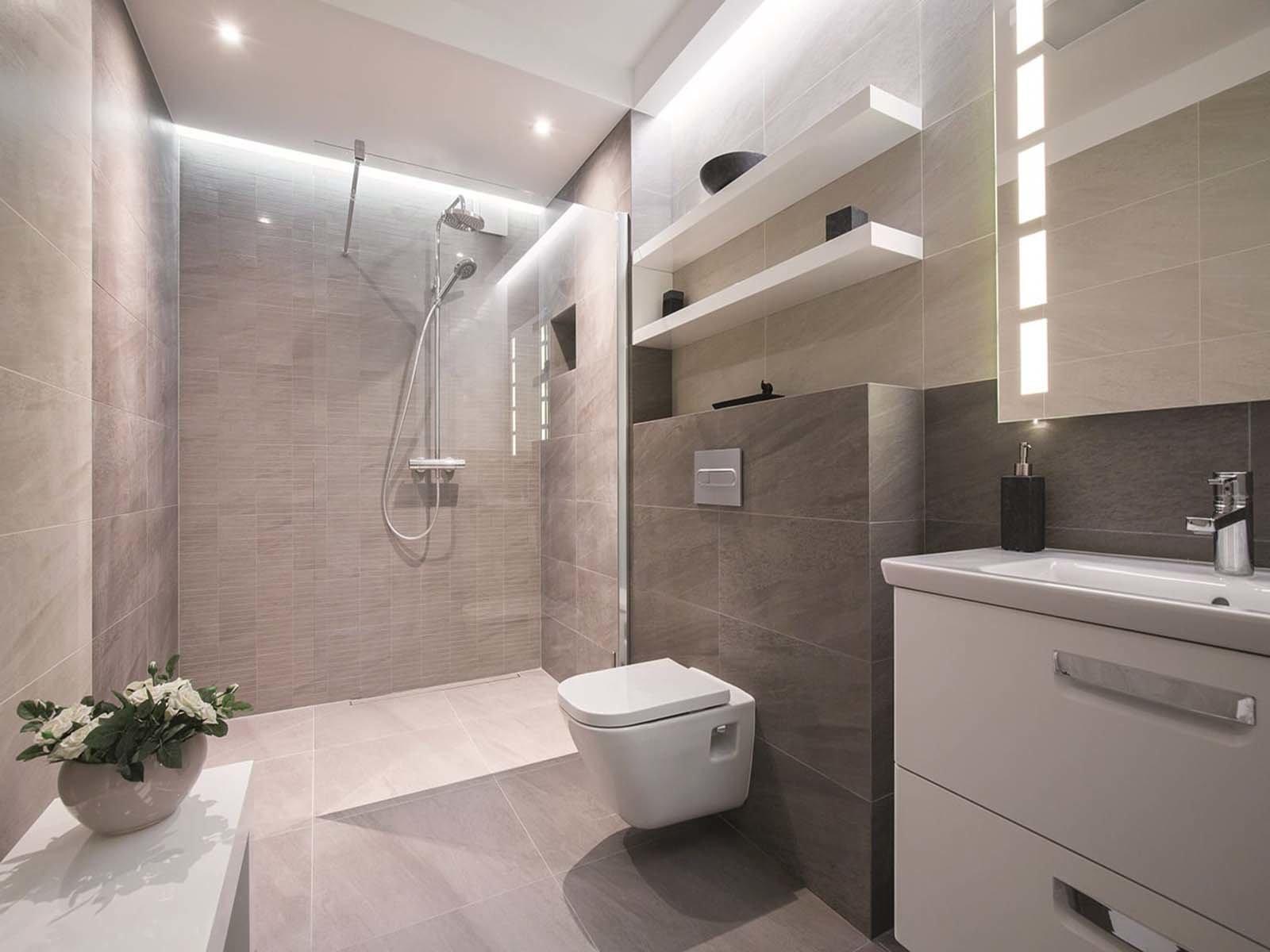 Приятные и спокойные тона в ванной комнате