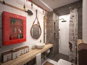 Изящный стиль лофт для дизайна ванной комнаты