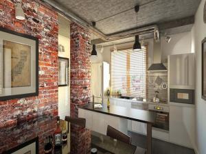 Стиль современный лофт в дизайне кухни 2021