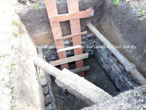 Изготовление кирпичных стен в яме правильной формы