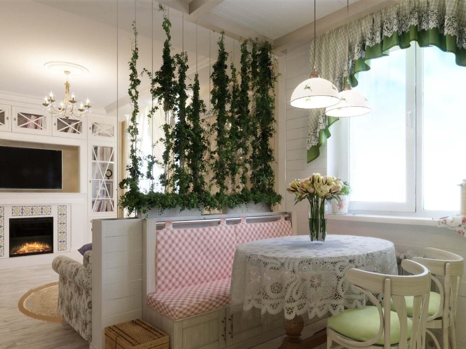 вьющиеся растения в зонировании комнаты